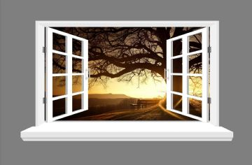 Tree, Bench and Sunset 3D window view, wall art sticker